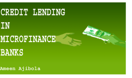 Credit Lending Tools For Microfinance Banks